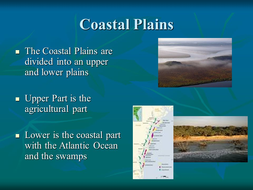Coastal Plains The Coastal Plains are divided into an upper and lower plains The Coastal Plains are divided into an upper and lower plains Upper Part
