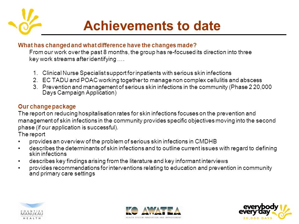 Achievements to date What has changed and what difference have the changes made.