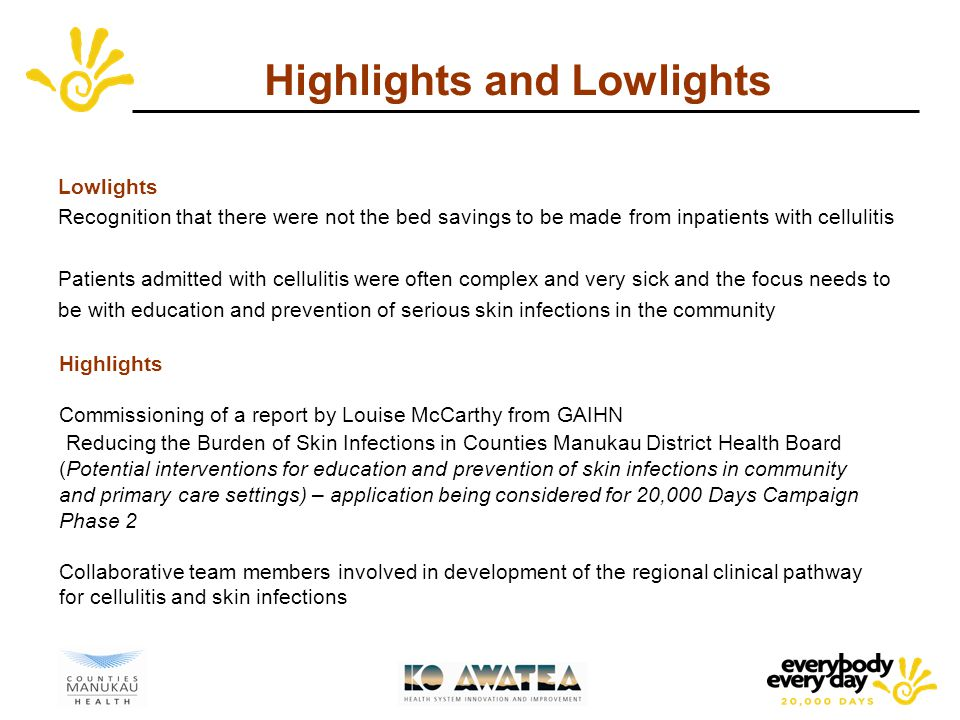 Highlights and Lowlights Lowlights Recognition that there were not the bed savings to be made from inpatients with cellulitis Patients admitted with cellulitis were often complex and very sick and the focus needs to be with education and prevention of serious skin infections in the community Highlights Commissioning of a report by Louise McCarthy from GAIHN Reducing the Burden of Skin Infections in Counties Manukau District Health Board (Potential interventions for education and prevention of skin infections in community and primary care settings) – application being considered for 20,000 Days Campaign Phase 2 Collaborative team members involved in development of the regional clinical pathway for cellulitis and skin infections