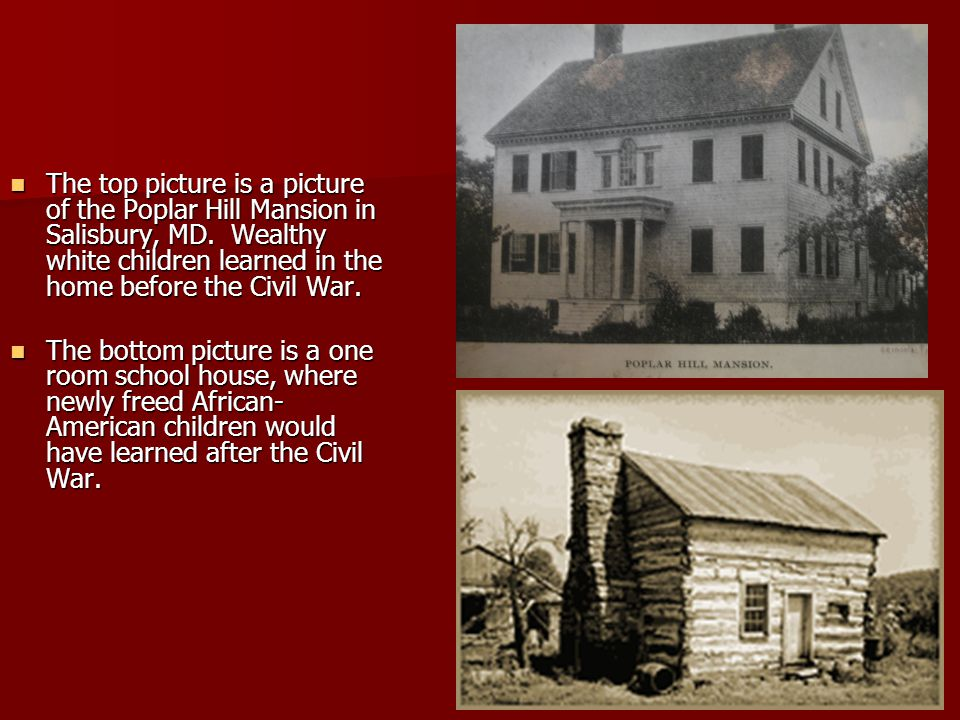 The top picture is a picture of the Poplar Hill Mansion in Salisbury, MD.