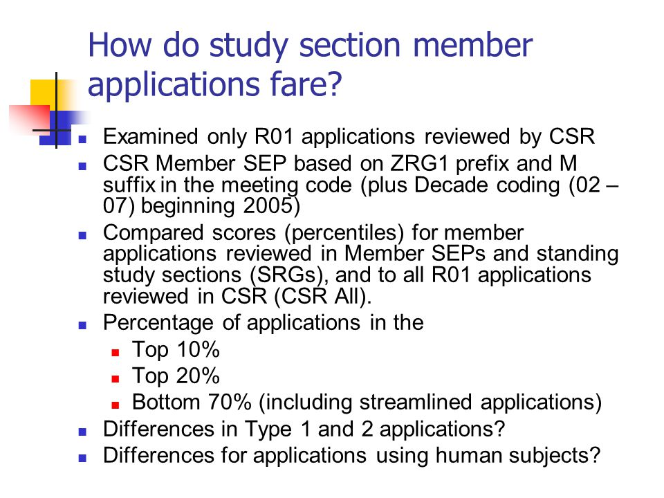 How do study section member applications fare? Examined only R01 applications reviewed by CSR CSR Member SEP based on ZRG1 prefix and M suffix in the