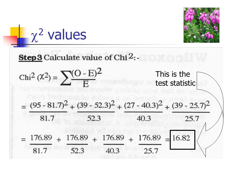  2 values This is the test statistic