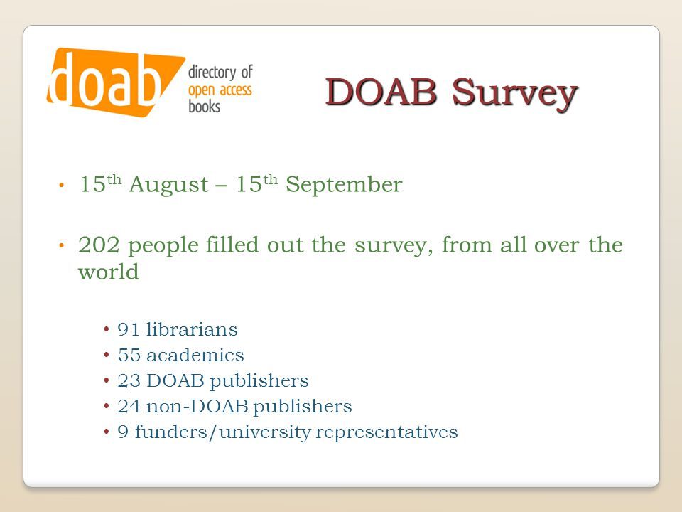 DOAB Survey 15 th August – 15 th September 202 people filled out the survey, from all over the world 91 librarians 55 academics 23 DOAB publishers 24