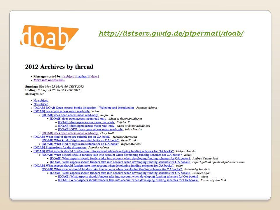 http://listserv.gwdg.de/pipermail/doab/