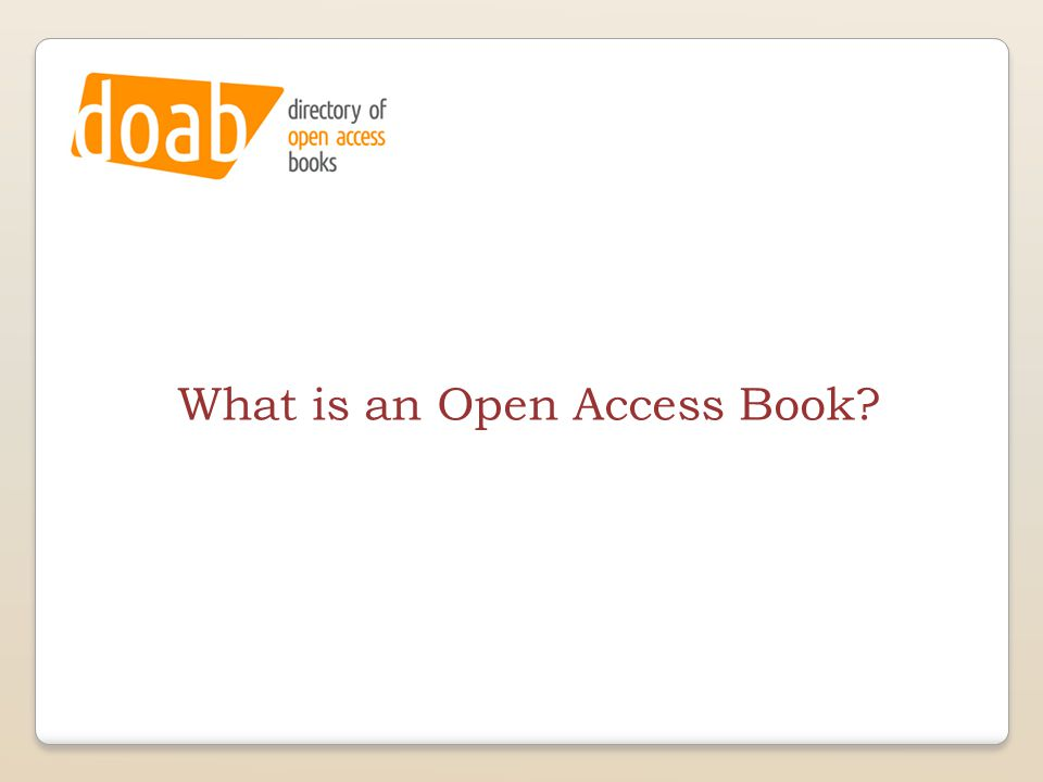 What is an Open Access Book?
