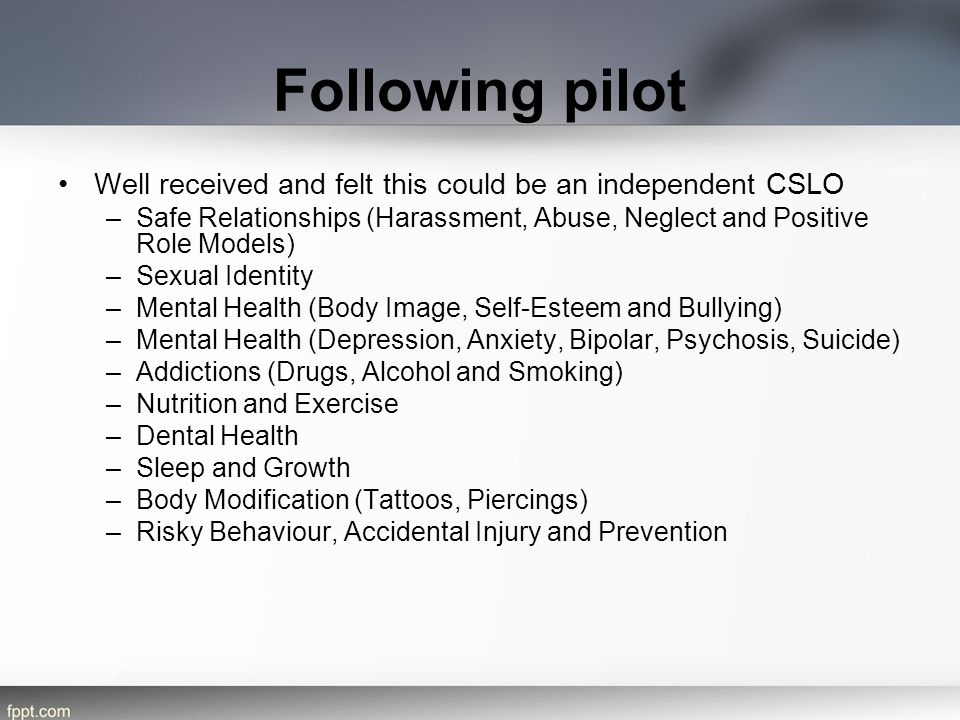 Following pilot Well received and felt this could be an independent CSLO –Safe Relationships (Harassment, Abuse, Neglect and Positive Role Models) –Se