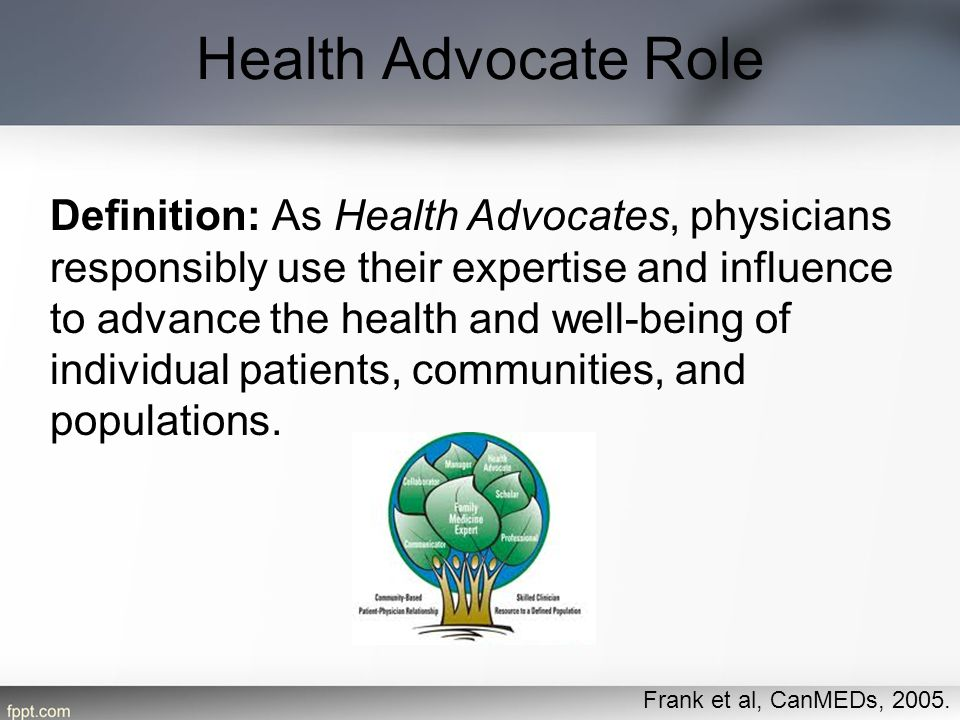 Health Advocate Role Frank et al, CanMEDs, 2005. Definition: As Health Advocates, physicians responsibly use their expertise and influence to advance