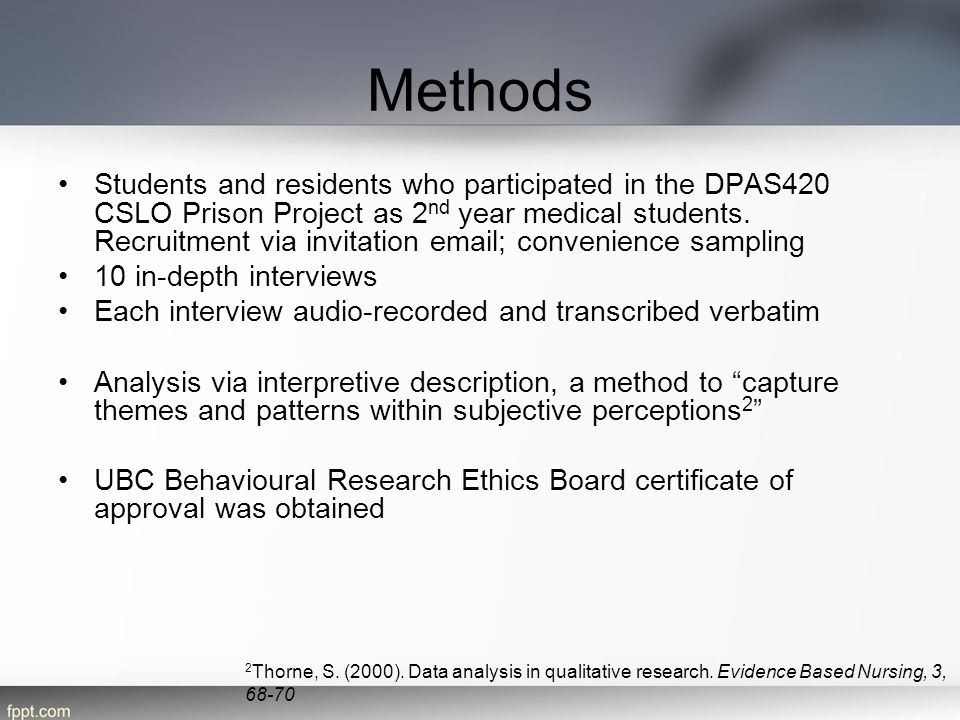 Methods Students and residents who participated in the DPAS420 CSLO Prison Project as 2 nd year medical students. Recruitment via invitation email; co