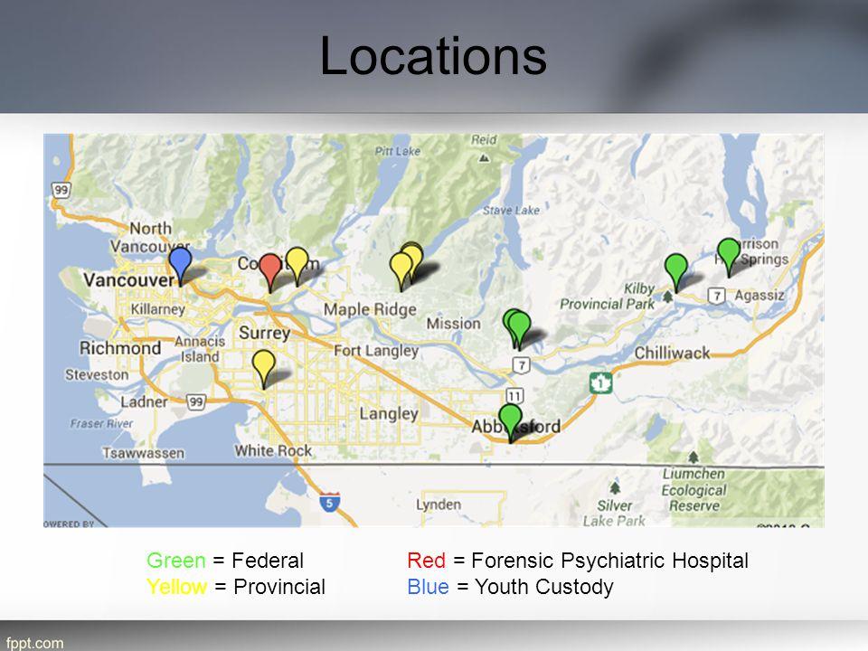 Locations Green = FederalRed = Forensic Psychiatric Hospital Yellow = ProvincialBlue = Youth Custody
