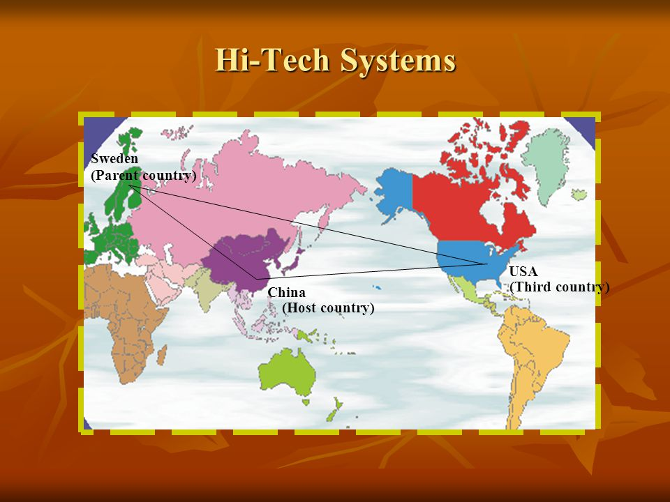 Hi-Tech Systems Sweden China USA (Host country) (Parent country) (Third country)