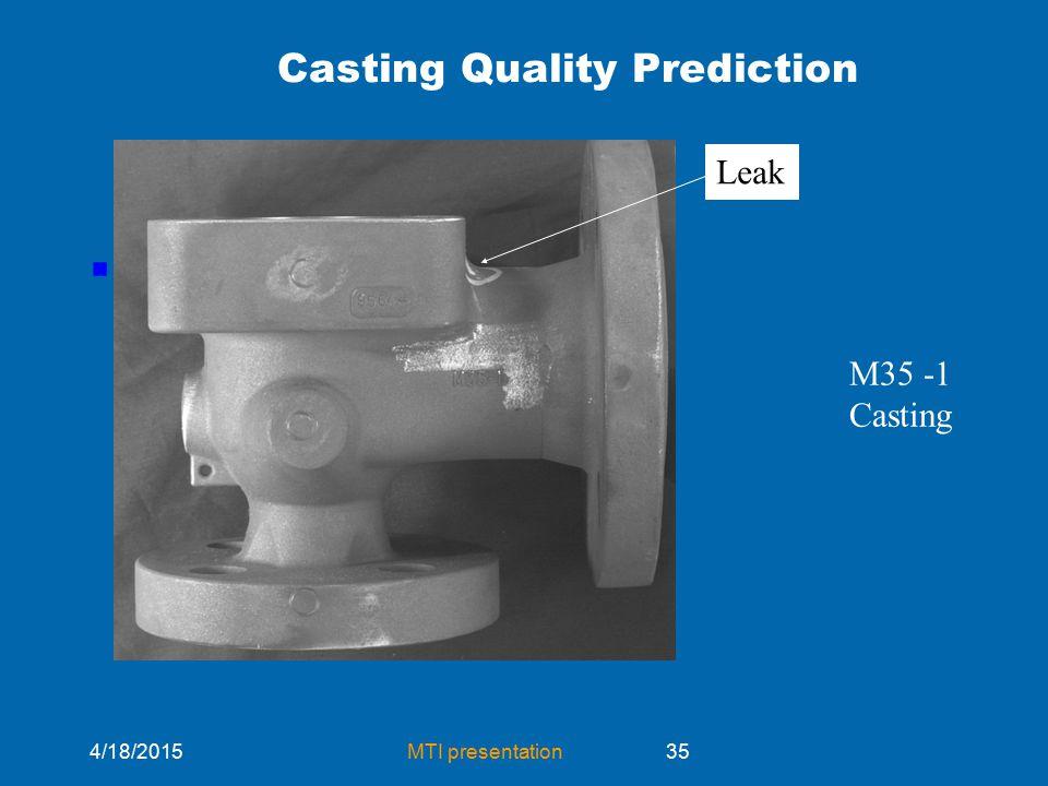 4/18/2015MTI presentation35 Casting Quality Prediction .. Leak M35 -1 Casting