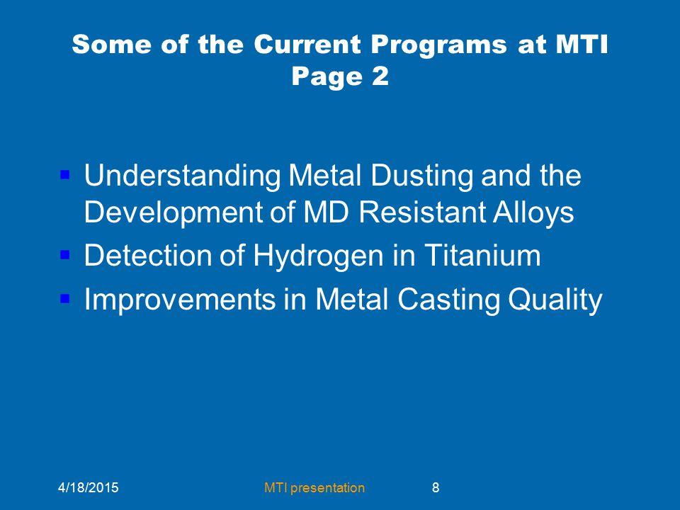 4/18/2015MTI presentation29 Metal Dusting Alloy Development Argonne National Laboratory  Cr25%  Al 3%  Zr 0.1%  Y 0.1%  Fe< 1%  NiBal