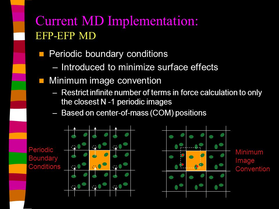 Periodic Boundary Conditions Minimum Image Convention Current MD Implementation: EFP-EFP MD Periodic boundary conditions –Introduced to minimize surface effects Minimum image convention –Restrict infinite number of terms in force calculation to only the closest N -1 periodic images –Based on center-of-mass (COM) positions