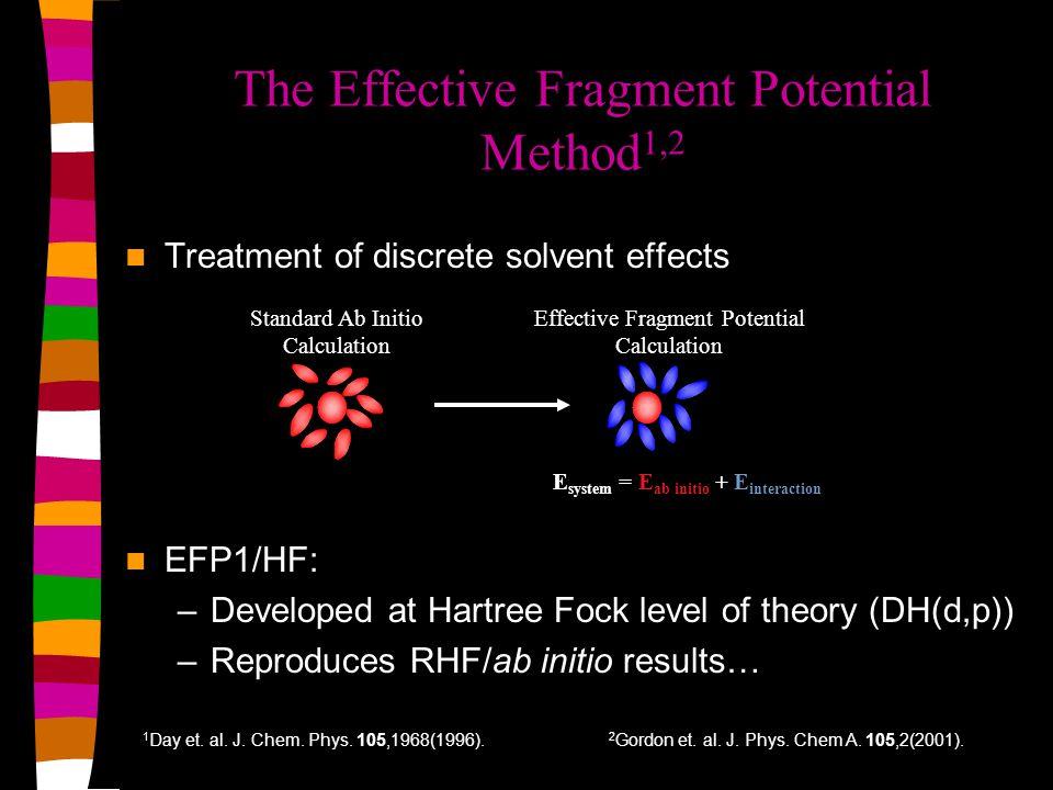 gOH(r): EFP1/HF, EFP1/DFT, SPC/E 62 waters EFP/DFT--NVE EFP/HF--NVT SPC/E--NVT Exp (ND) gOH(r) r (Angstroms) Exp (ND): Neutron Diffraction; Soper et.