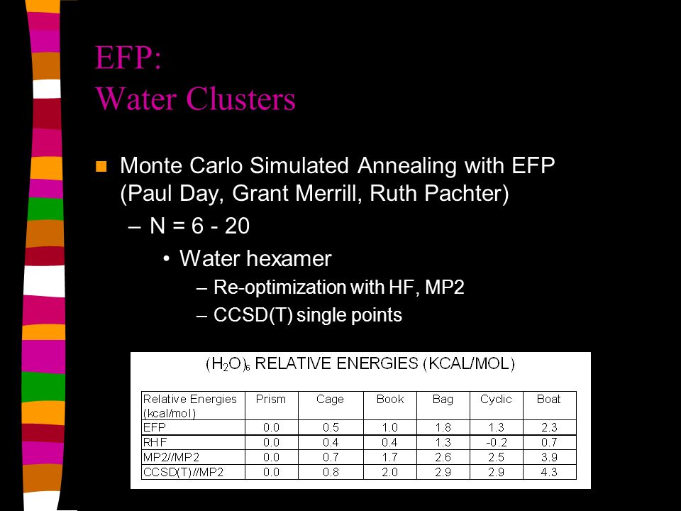 EFP-EFP MD Applications Preparation of the system Heating: –NVE ensemble: Initial target temp = 50 K Initial quaternions chosen randomly Initial translational velocities sampled from Maxwell-Boltzmann distribution at 100 K; angular velocities start from zero –Use these coordinates to start simulation at 100 K –Same procedure to start 200 K and 300 K runs Equilibration--TARGET TEMP = 300 K: –Coordinates taken from 300 K heating run; initial translational velocities sampled from Maxwell-Boltzmann distribution at 600 K –NVT ensemble at 300K velocities rescaled only if they are outside 300 + 5 K (scaling factors not allowed to exceed 1.3) Production: –Initial coordinates, velocities, and quaternions from equilibration –NVE and/or NVT ensemble: measure observables of interest