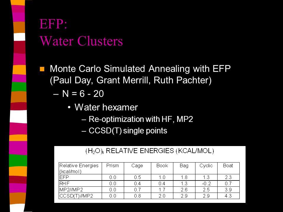 Timings: Energy + Gradient calculation Method* 20 water molecules 62 water molecules 122 water molecules 512 water molecules Ab initio**3.19 hrs--- ~157 yrs*** EFP23.3 sec26.1 sec95.3 sec26.8 min EFP1/HF0.2 sec2.6 sec5.1 sec97.8 sec SPC/E0.02 sec 0.1 sec0.7 sec * Run on 1200 MHz Athlon/Linux machine **Ab initio: DZP basis set, *** Assuming N 4 scaling