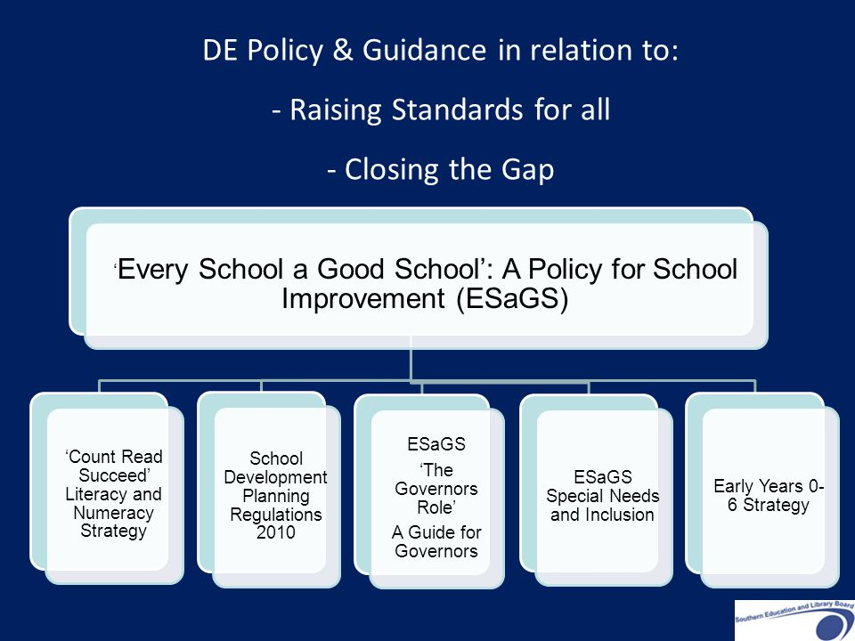 ' Every School a Good School': A Policy for School Improvement (ESaGS) 'Count Read Succeed' Literacy and Numeracy Strategy School Development Planning