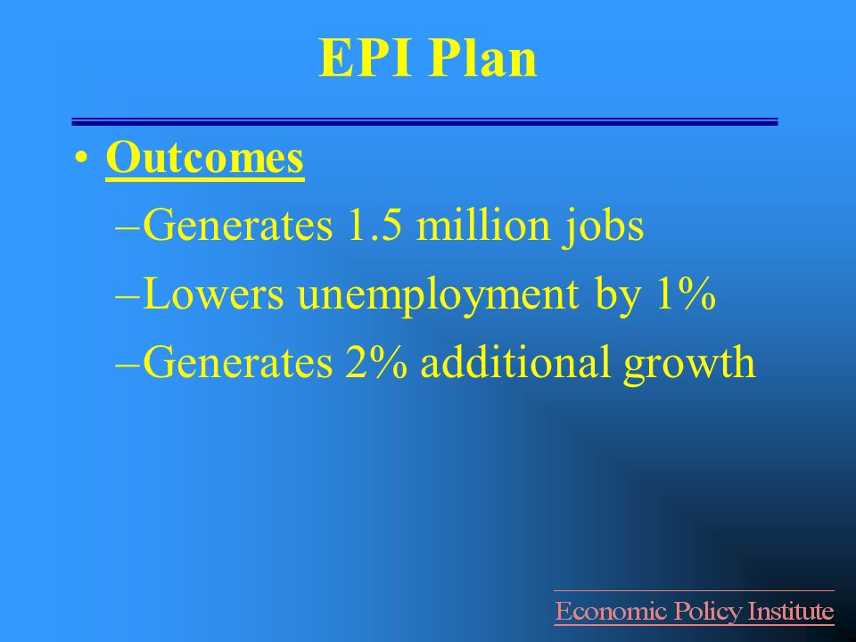 EPI Plan Outcomes –Generates 1.5 million jobs –Lowers unemployment by 1% –Generates 2% additional growth