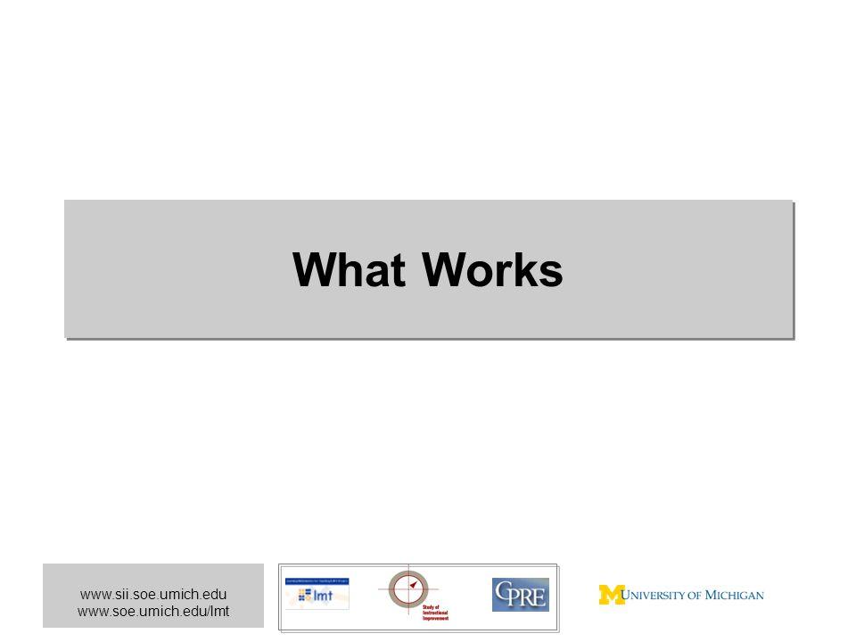 www.sii.soe.umich.edu www.soe.umich.edu/lmt What Works