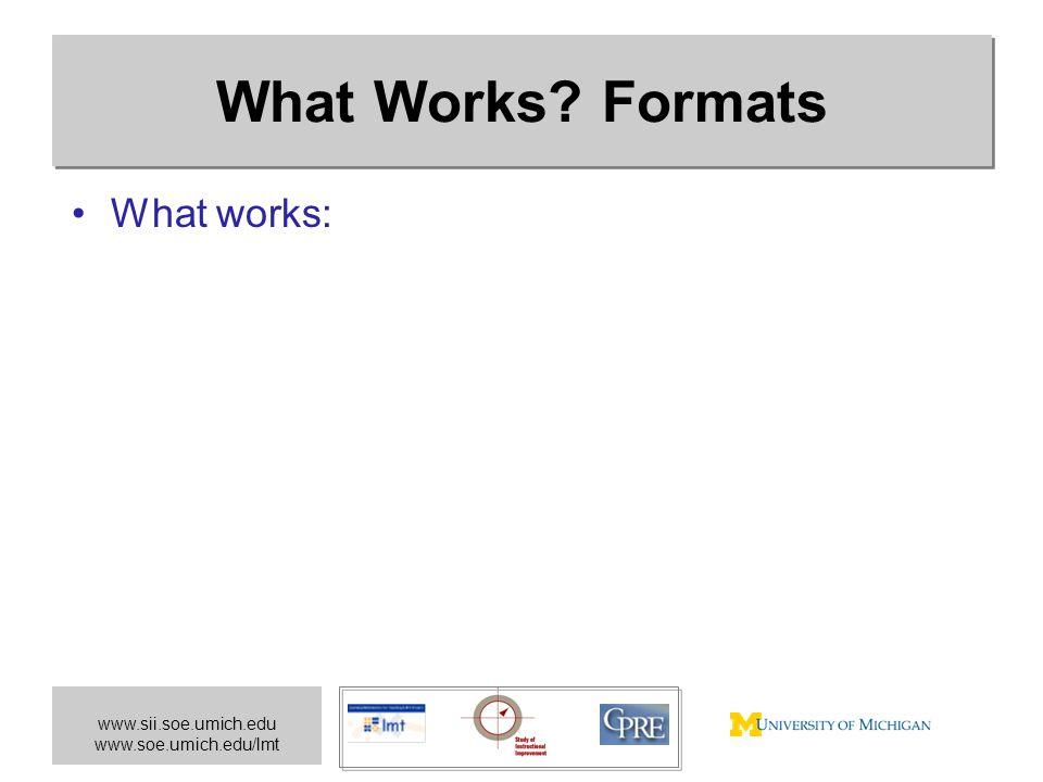 www.sii.soe.umich.edu www.soe.umich.edu/lmt What Works? Formats What works: