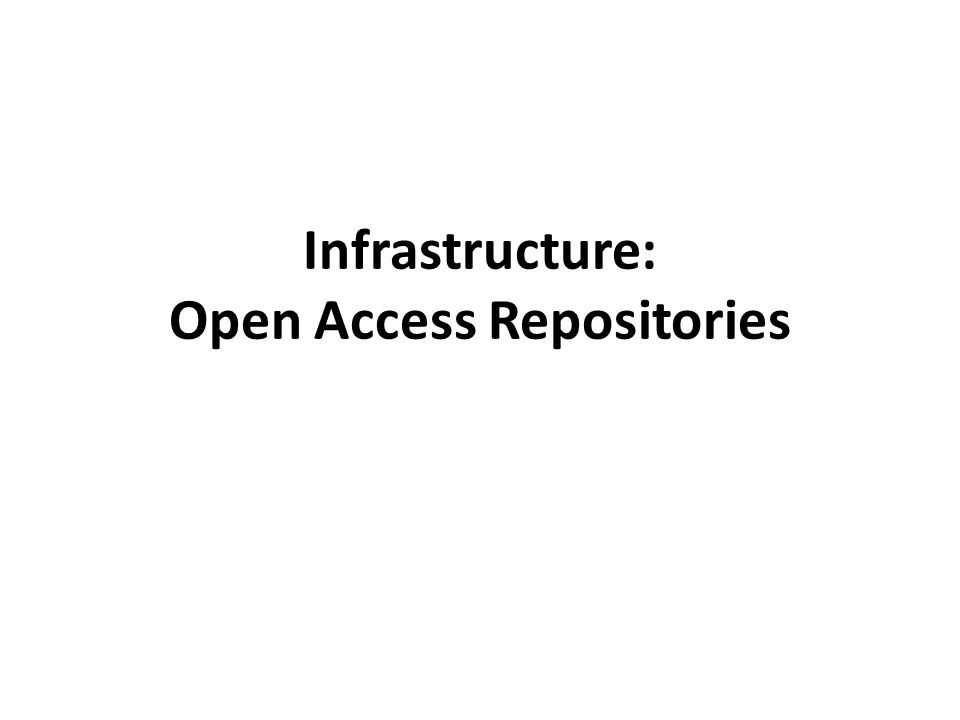 Infrastructure: Open Access Repositories