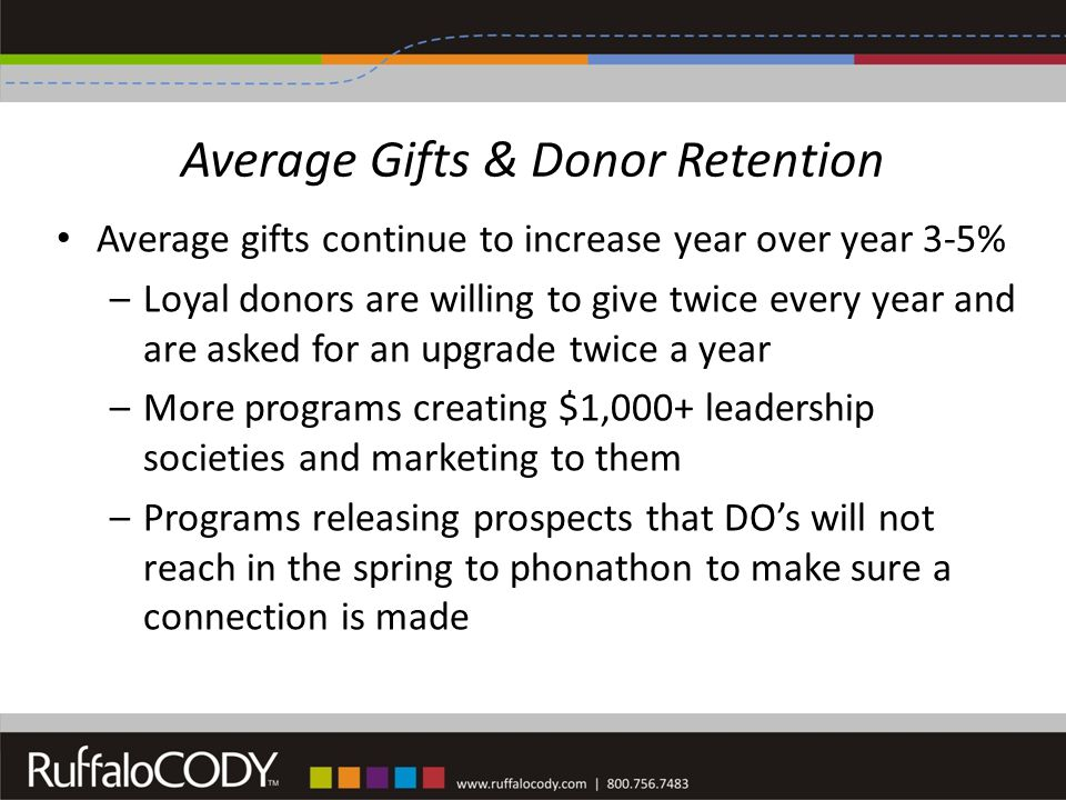 Average Gifts & Donor Retention Average gifts continue to increase year over year 3-5% –Loyal donors are willing to give twice every year and are asked for an upgrade twice a year –More programs creating $1,000+ leadership societies and marketing to them –Programs releasing prospects that DO's will not reach in the spring to phonathon to make sure a connection is made
