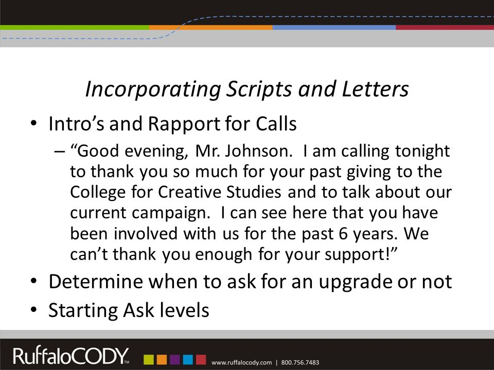 Incorporating Scripts and Letters Intro's and Rapport for Calls – Good evening, Mr.