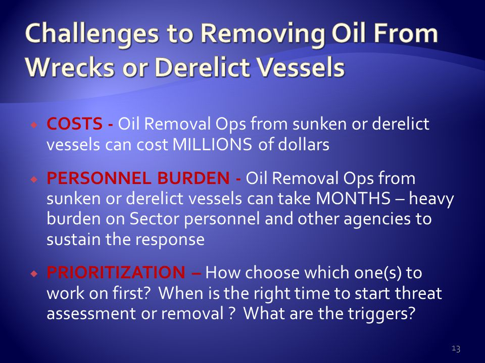  COSTS - Oil Removal Ops from sunken or derelict vessels can cost MILLIONS of dollars  PERSONNEL BURDEN - Oil Removal Ops from sunken or derelict vessels can take MONTHS – heavy burden on Sector personnel and other agencies to sustain the response  PRIORITIZATION – How choose which one(s) to work on first.