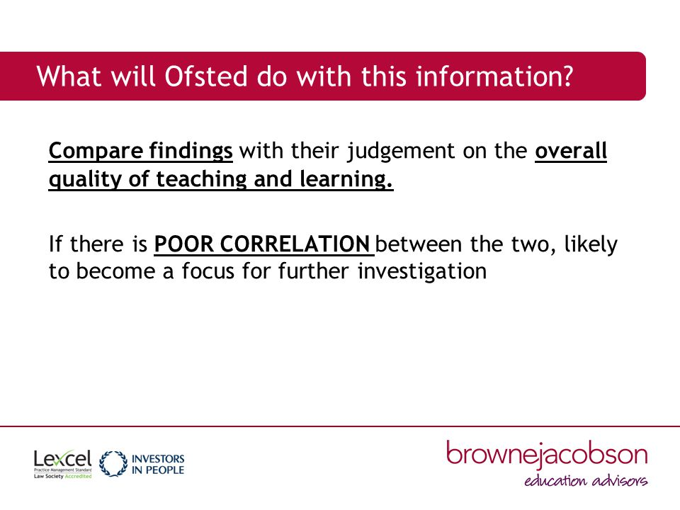 What will Ofsted do with this information.
