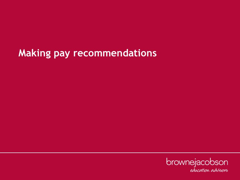 Making pay recommendations