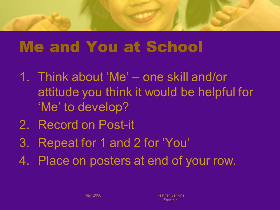 May 2006Heather Jenkins Emotsia Me and You at School 1.Think about 'Me' – one skill and/or attitude you think it would be helpful for 'Me' to develop.