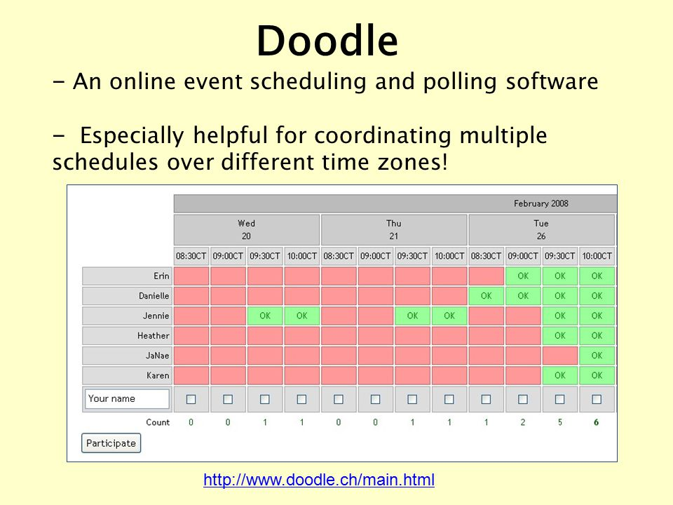 – An online event scheduling and polling software – Especially helpful for coordinating multiple schedules over different time zones! http://www.doodl