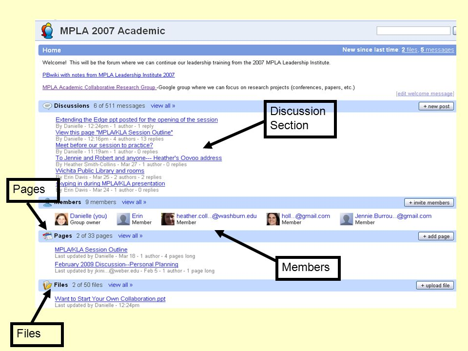Discussion Section Members Files Pages