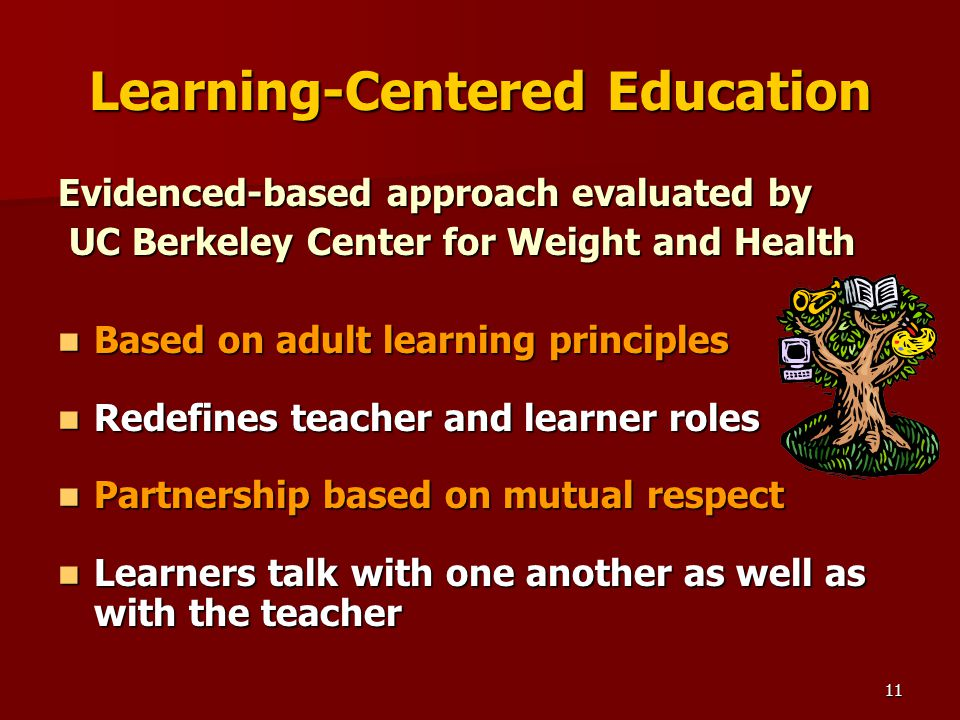 11 Learning-Centered Education Evidenced-based approach evaluated by UC Berkeley Center for Weight and Health UC Berkeley Center for Weight and Health Based on adult learning principles Based on adult learning principles Redefines teacher and learner roles Redefines teacher and learner roles Partnership based on mutual respect Partnership based on mutual respect Learners talk with one another as well as with the teacher Learners talk with one another as well as with the teacher