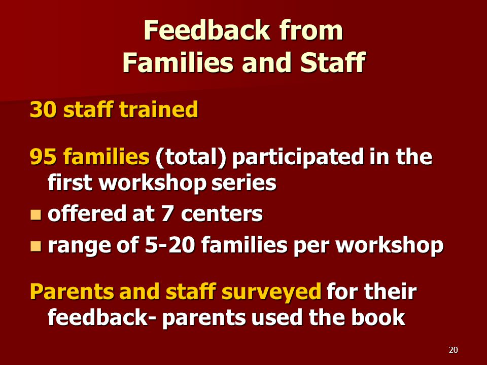 20 Feedback from Families and Staff 30 staff trained 95 families (total) participated in the first workshop series offered at 7 centers offered at 7 centers range of 5-20 families per workshop range of 5-20 families per workshop Parents and staff surveyed for their feedback- parents used the book