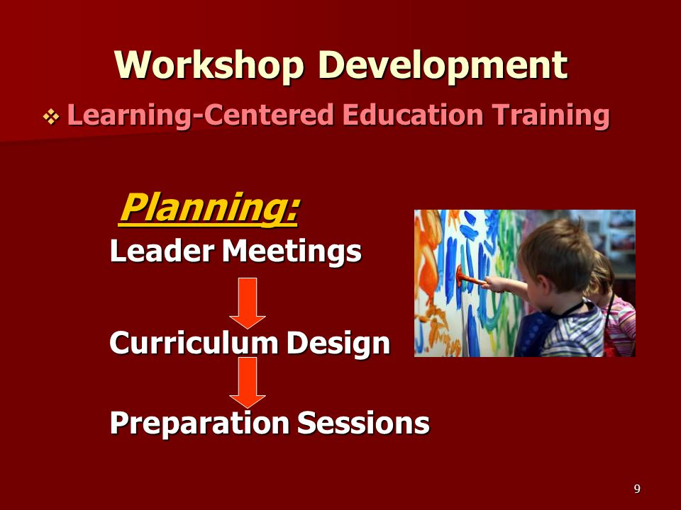 9 Workshop Development  Learning-Centered Education Training Planning: Planning: Leader Meetings Curriculum Design Preparation Sessions