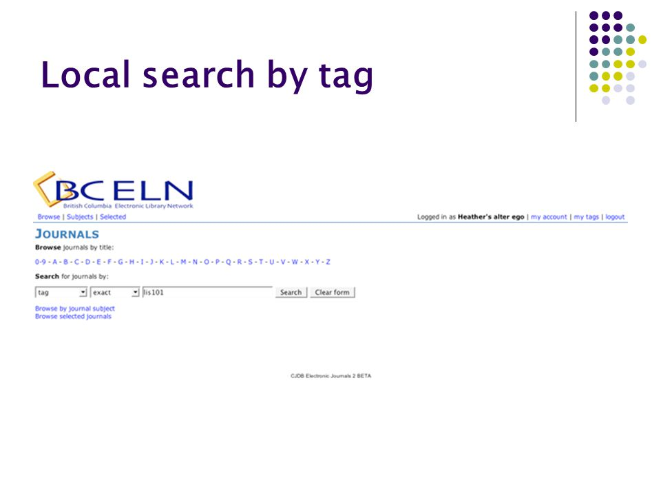 Local search by tag