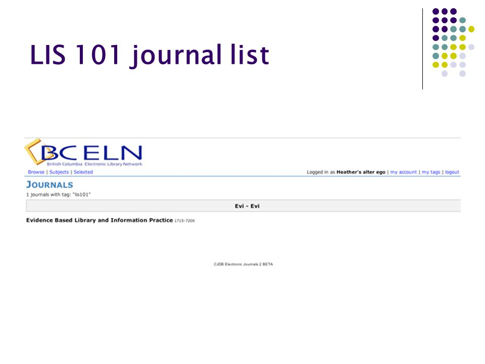 LIS 101 journal list
