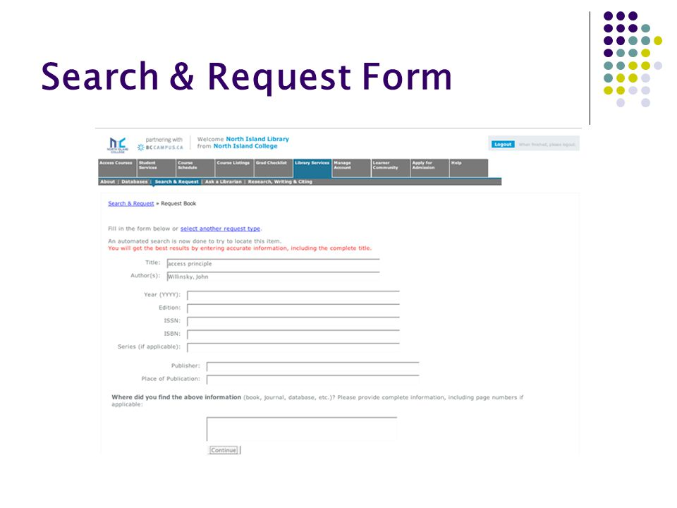 Search & Request Form