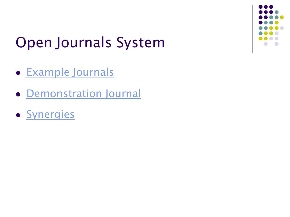 Open Journals System Example Journals Demonstration Journal Synergies