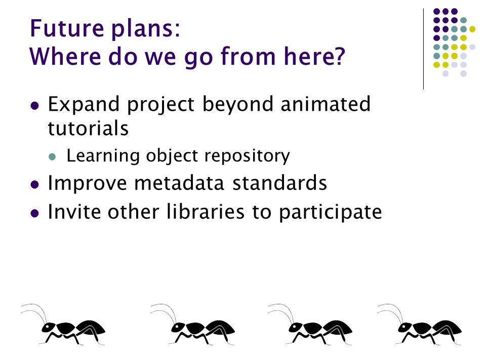 Future plans: Where do we go from here? Expand project beyond animated tutorials Learning object repository Improve metadata standards Invite other li