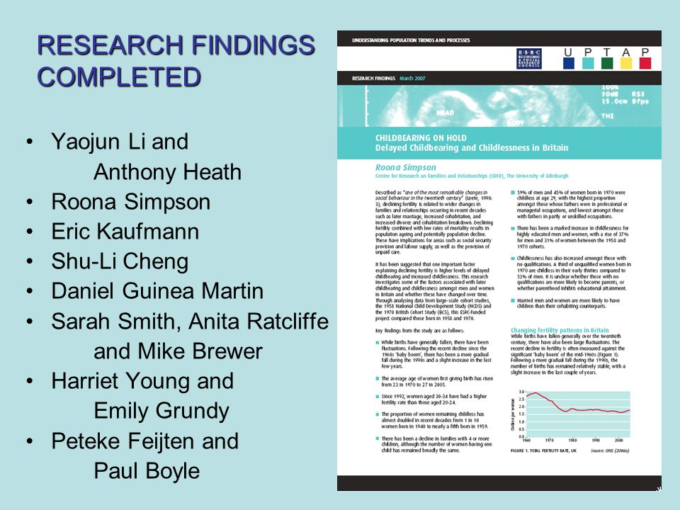 Yaojun Li and Anthony Heath Roona Simpson Eric Kaufmann Shu-Li Cheng Daniel Guinea Martin Sarah Smith, Anita Ratcliffe and Mike Brewer Harriet Young and Emily Grundy Peteke Feijten and Paul Boyle RESEARCH FINDINGS COMPLETED