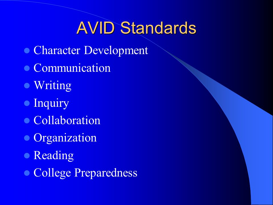 AVID Standards Character Development Communication Writing Inquiry Collaboration Organization Reading College Preparedness