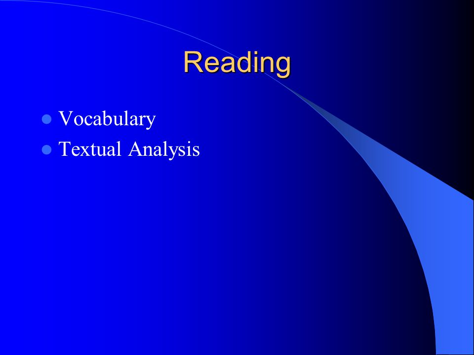 Reading Vocabulary Textual Analysis