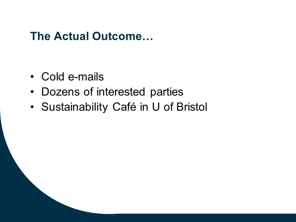 The Actual Outcome… Cold e-mails Dozens of interested parties Sustainability Café in U of Bristol