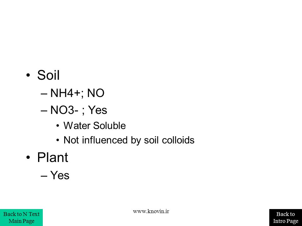 Soil –NH4+; NO –NO3- ; Yes Water Soluble Not influenced by soil colloids Plant –Yes Back to Intro Page Back to N Text Main Page www.knovin.ir