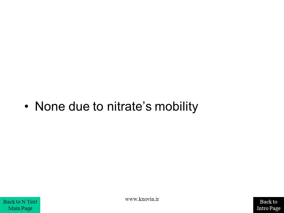 None due to nitrate's mobility Back to Intro Page Back to N Text Main Page www.knovin.ir