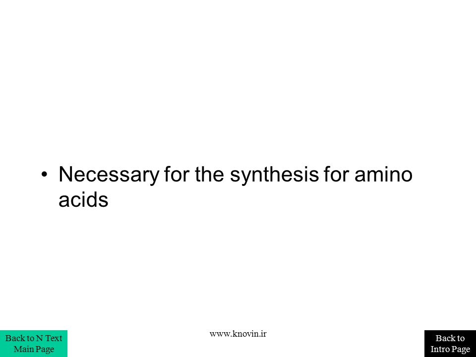 Necessary for the synthesis for amino acids Back to Intro Page Back to N Text Main Page www.knovin.ir
