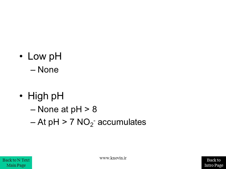 Low pH –None High pH –None at pH > 8 –At pH > 7 NO 2 - accumulates Back to Intro Page Back to N Text Main Page www.knovin.ir