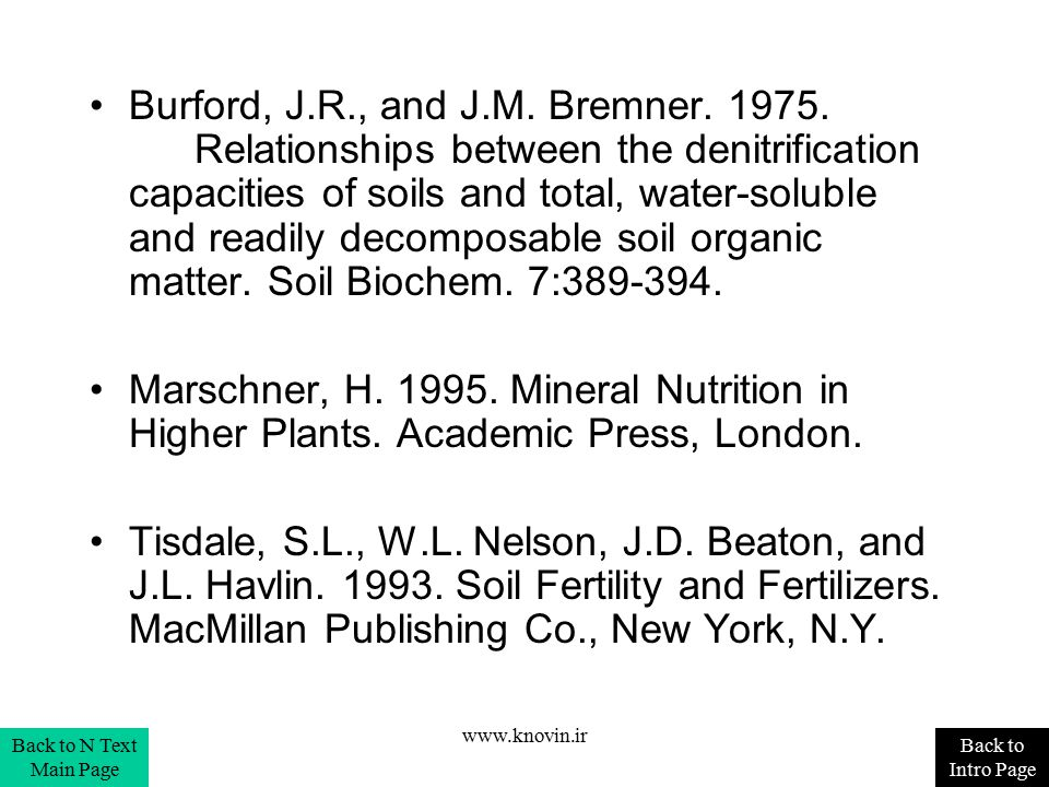 Burford, J.R., and J.M. Bremner. 1975. Relationships between the denitrification capacities of soils and total, water-soluble and readily decomposable